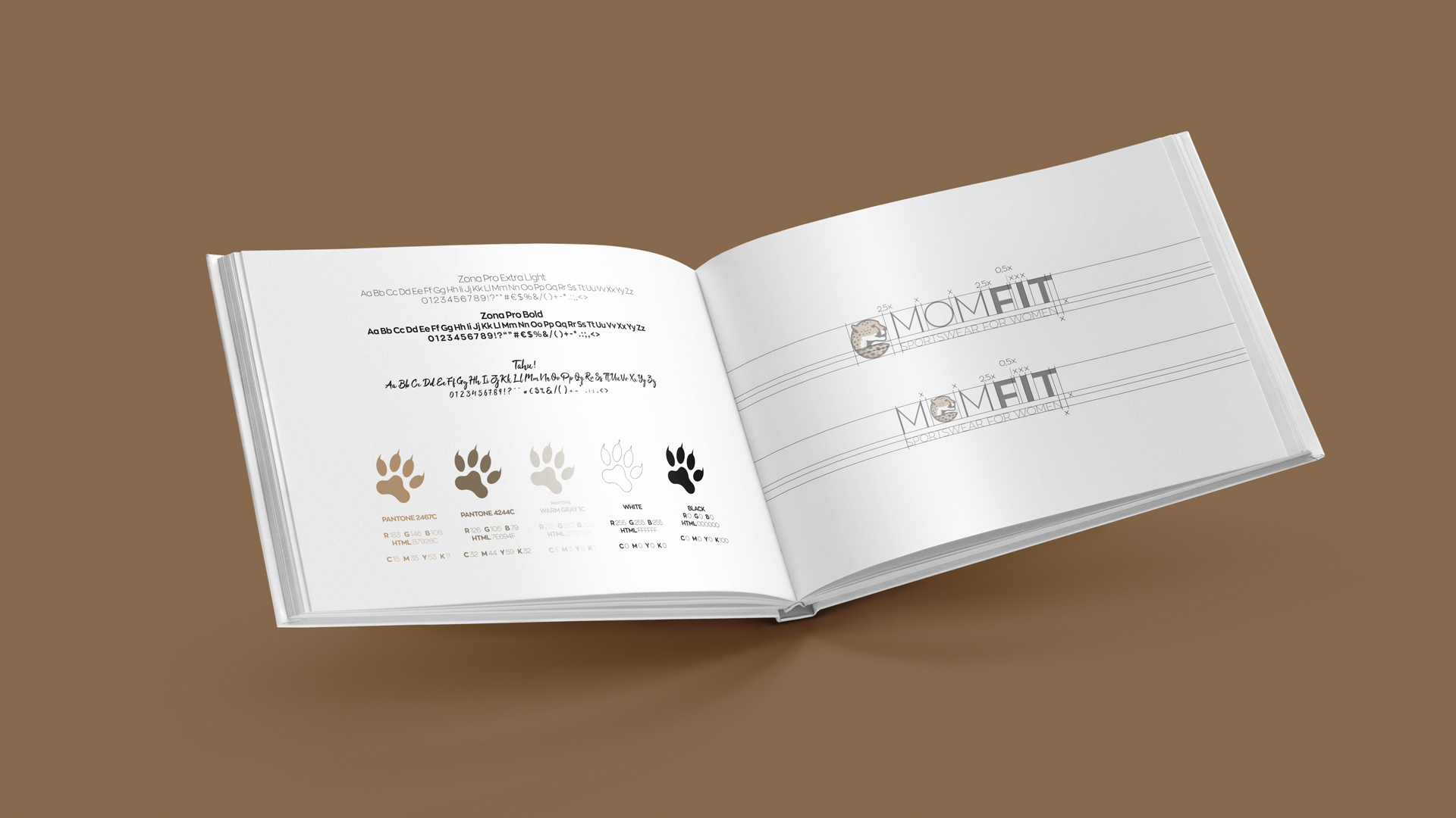 Sports Brand Design Brand book with typograpy, color palette and logo grid
