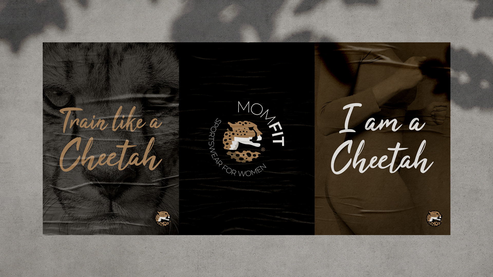 Sports Brand Design messaging for MOMFIT Sportswear in posters with Train like a Cheetah and I am a Cheetah written with the brand's logo