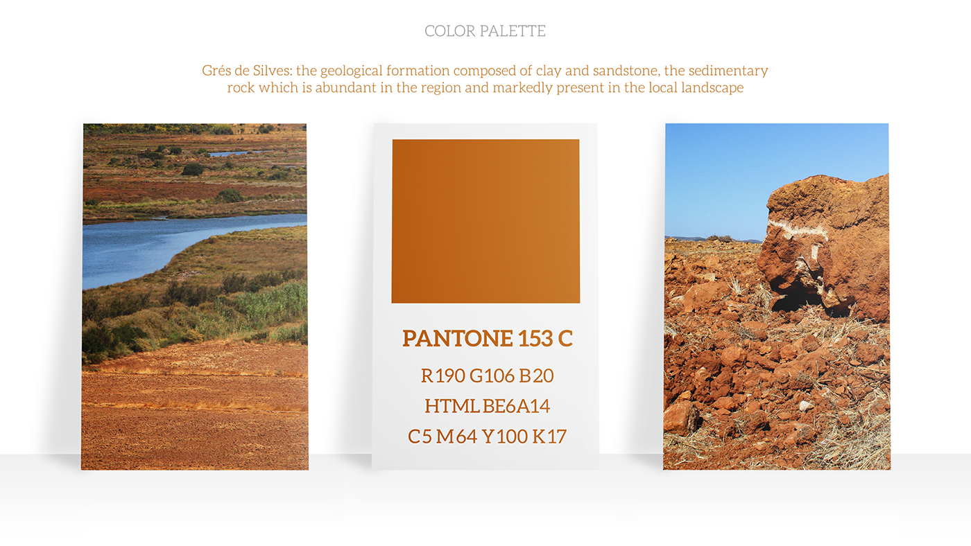 One of the colors in Riverade's color palette based on Grés de Silves, a geological formation abundant in the region and markedly present in the local landscape
