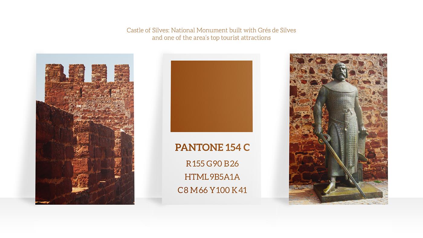 Color palette for Brand Identity based on the Castle of Silves, national monument built with Grés de Silves