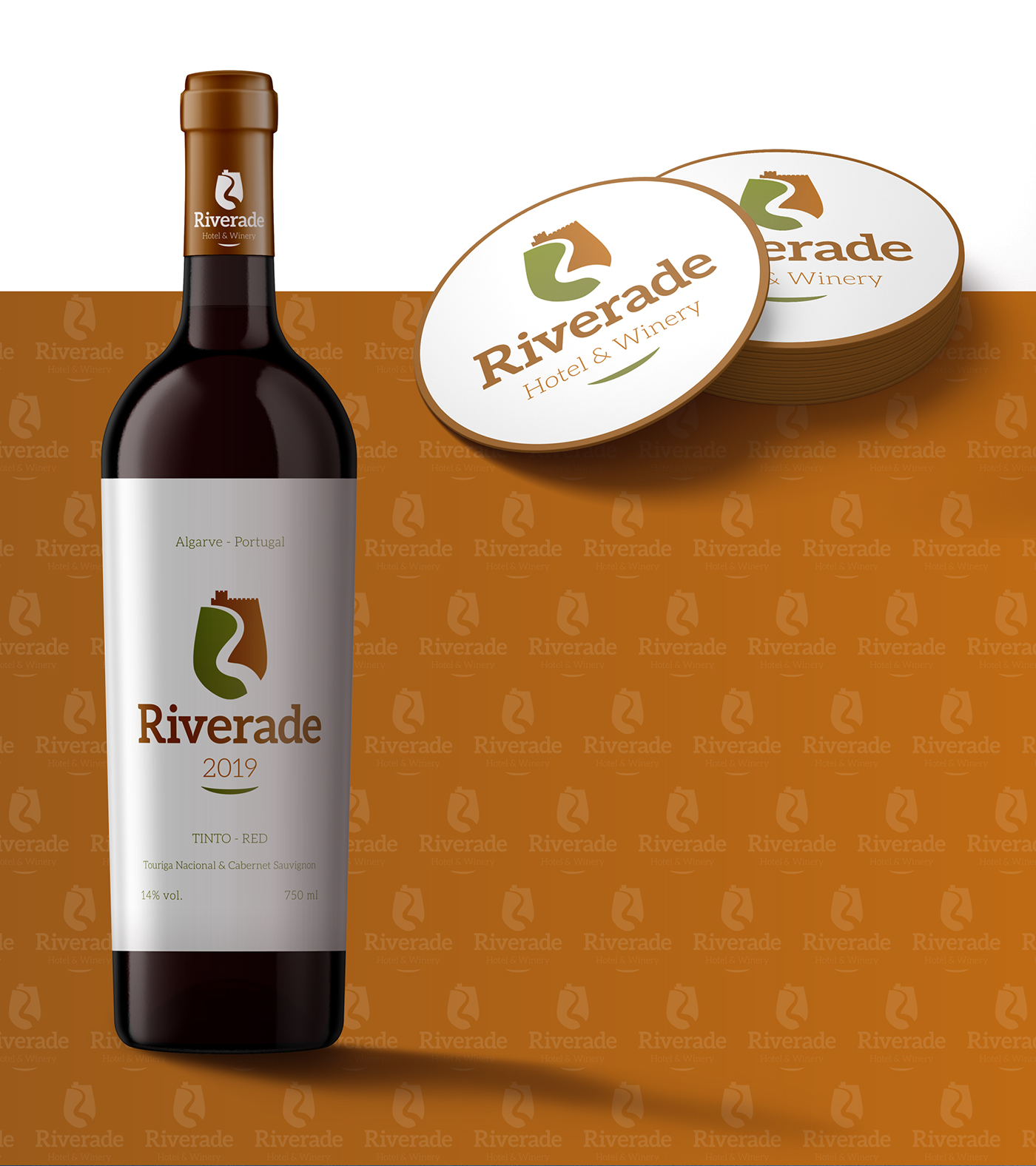 Wine bottle and glass coaster branded for Riverade Hotel & Winery Wellness Brand Design