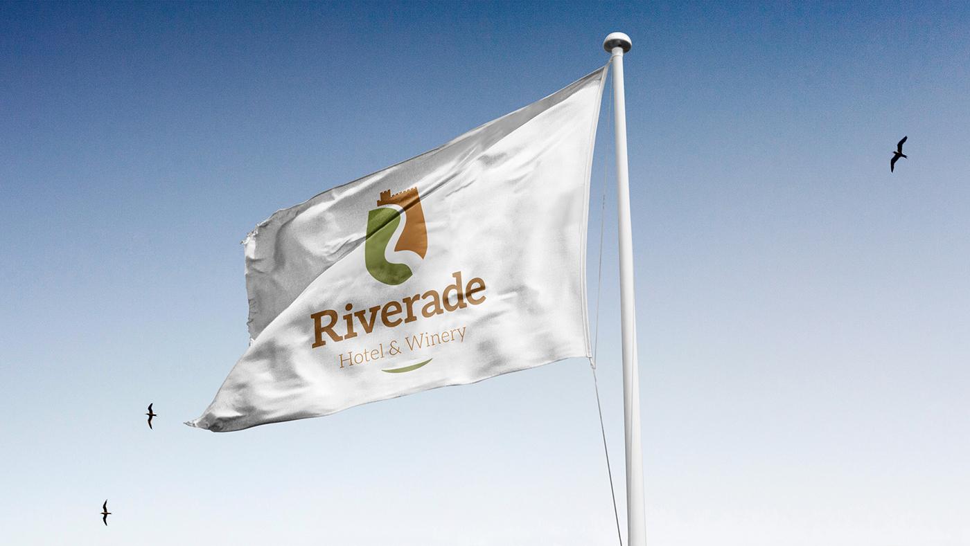Wellness Brand Design Logo for Riverade Hotel & Winery on flag