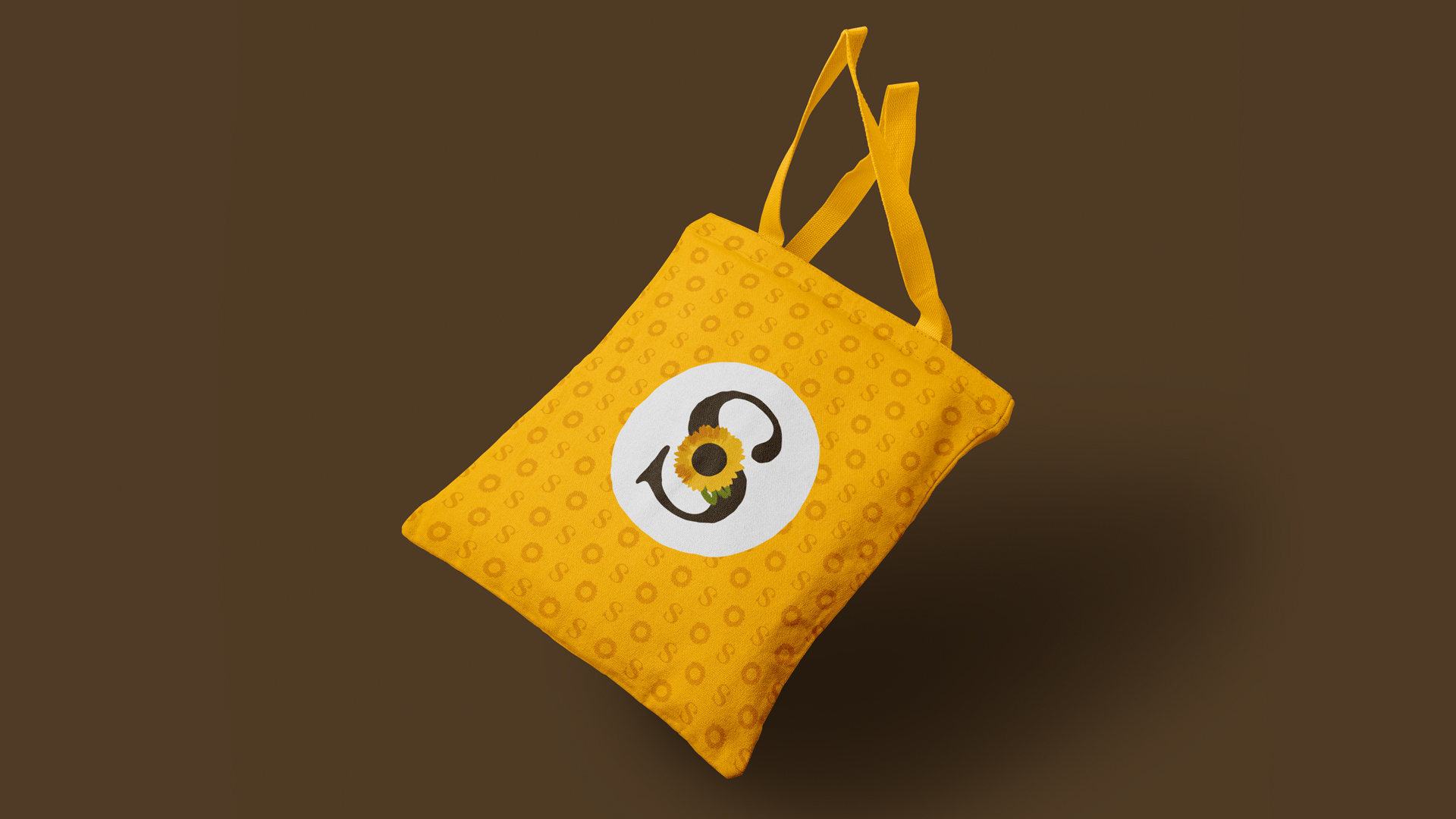 Wellness Brand Design elements in a bag with logo and pattern for SUNFLOWER