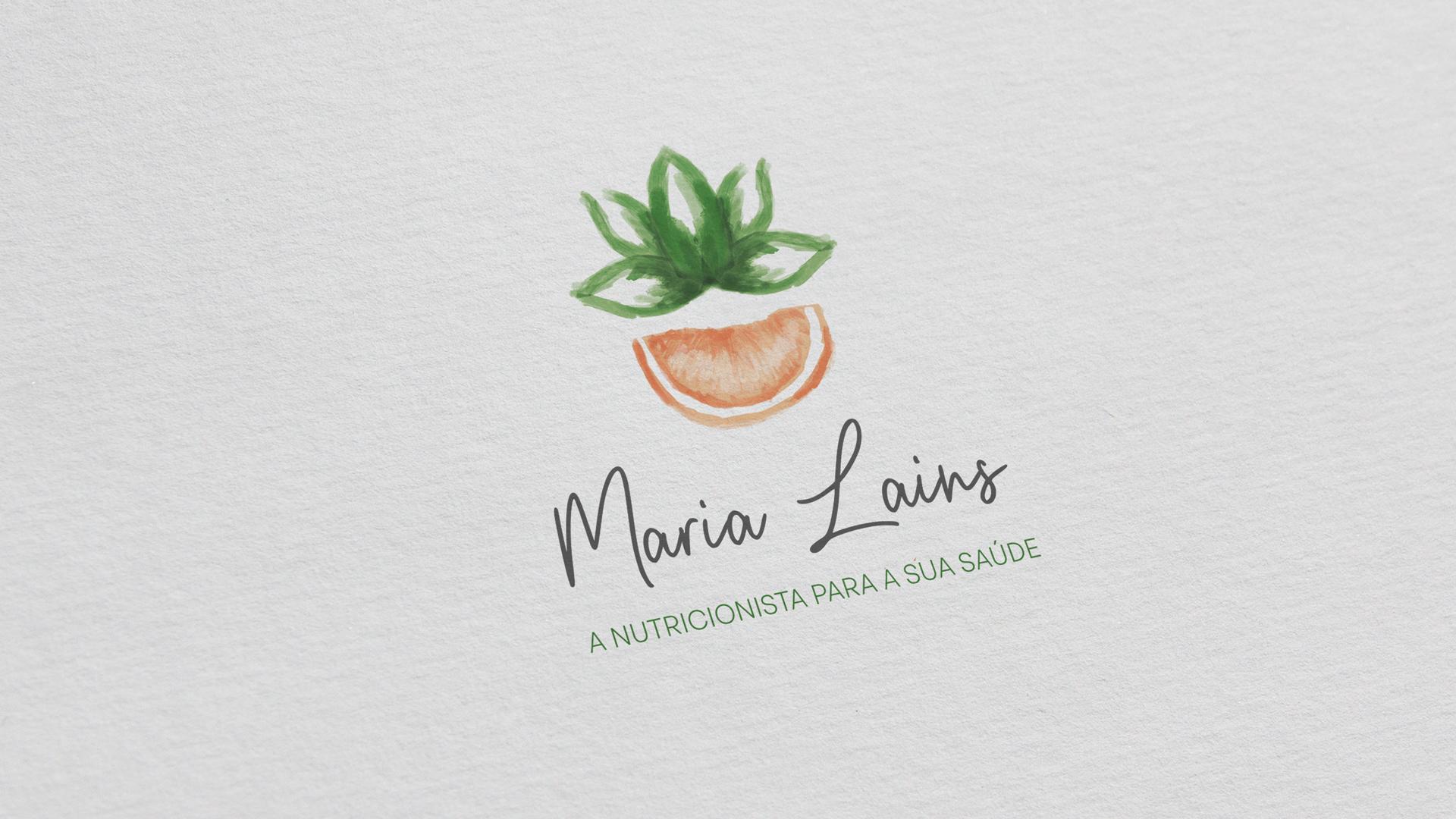 Wellness Brand Design - Maria Lains Nutritionist Logo with orange and lotus flower illustration