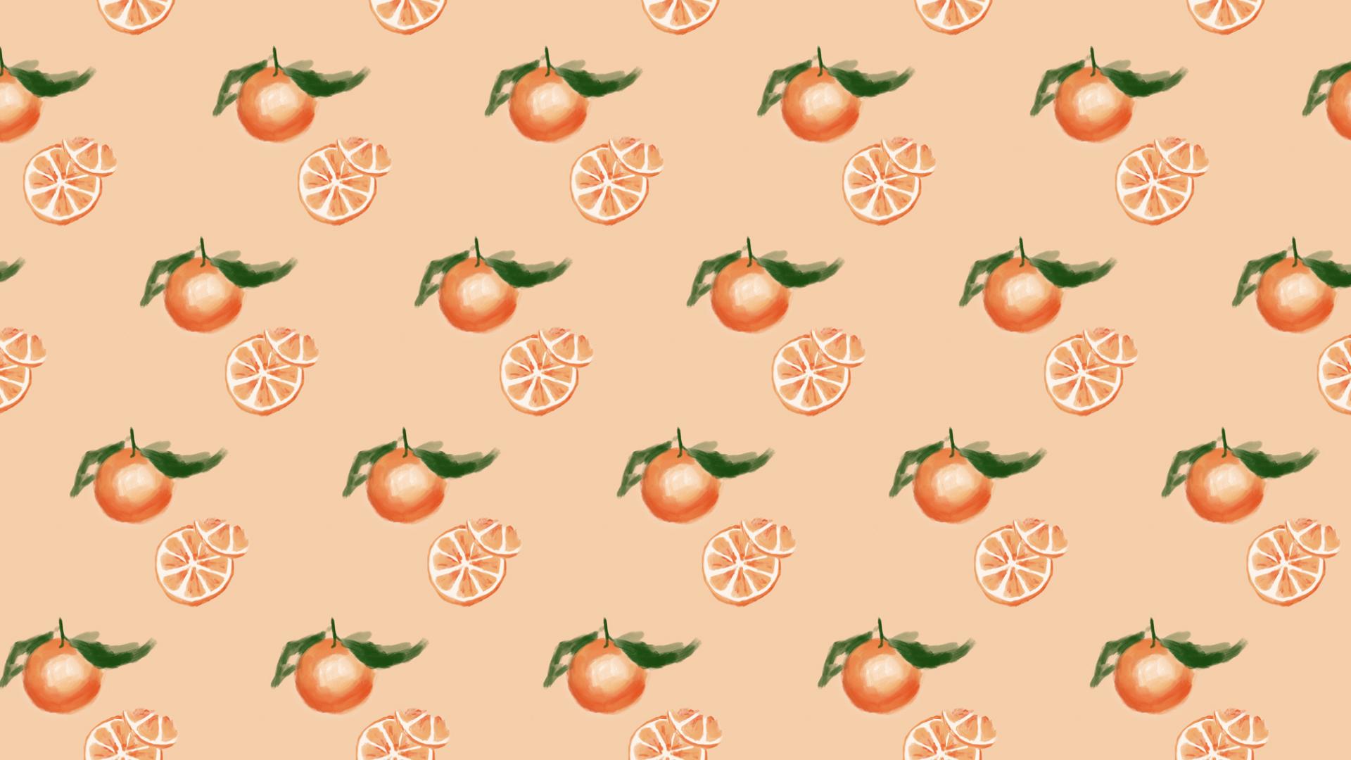 Wellness Brand Design - Orange pattern with original illustrations